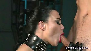 Latex mistress jasmine jae extracts her creamy load