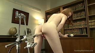 Pale Ginger Babe Uses A Fucking Machine