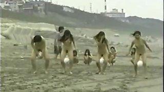 japanese nude girls ball playnig on the beach