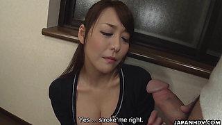 Japanese wife Akari Asayiri sucks dick uncensored