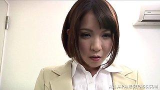 Secretary Ryo Tsujimoto drops on her knees to give head to her boss