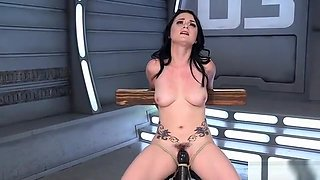 Tied up and spreaded beauty fucks machine