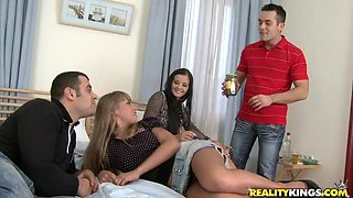 Splendid Milla And Her Crazy GF Go Wild Doing A Foursome
