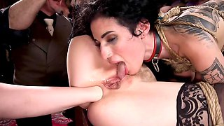 Aiden Starr entices Chloe Cherry and Arabelle Raphael into BDSM