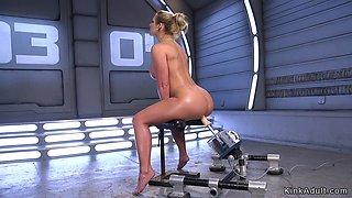 Huge tits Milf in tights fucks machine