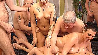 slippery nuru gangbang orgy