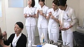 Lustful Asian nurses satisfy their intense desire for cock