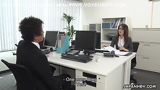 Sexy Asian Japanese Masturbating In Office And Blowing Cock - Mao Saitou