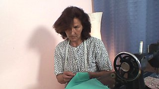 Sewing old women swallows customer's cock