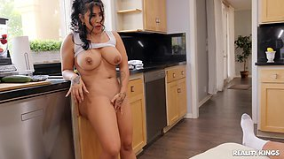 Hardcore interracial fucking in the kitchen with horny Tokyolynn