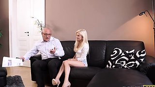 DADDY4K. Pretty blonde-haired girl has the first old