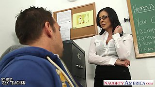 Fit generously sexy teacher Kendra Lust fucks her student