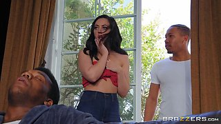 horny brunette is too good at seducing handsome hunks