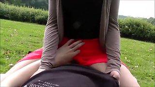 Innocent petite teen gets anal creampie in public park