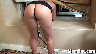 Slamming a big butt mature wife in the bathroom