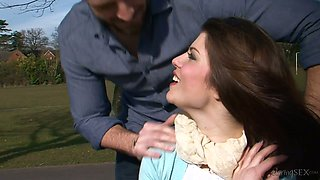 Dissolute brunette beauty Lucia Love gets drilled really hard in bed