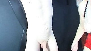 Dominatrix using her male sex slave for fucking