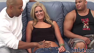 Horny blonde minx and two monster dicks