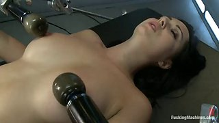 hot brunette gives you a hard on while fucking a machine