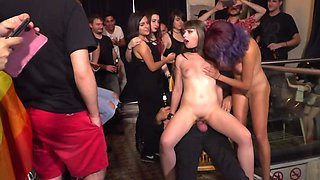 Master impales naked slave in bar in front of onlookers