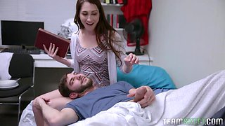 Playful flirty girlfriend turns BF on and gives him head before doggy