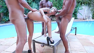 Assfucked In Threesome With Interracial Dp