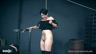Asian babe Mia Torro forced to pee while being abused hardcore