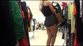 Street voyeur follows a hot blonde teen with a perfect ass