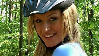 Stunning girl riding her bike & exposing her glorious teen pussy