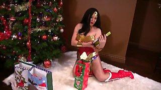 Anastasia Pierce In Bad Santa For Wonder Woman - Busty Brunette In Christmas Cosplay
