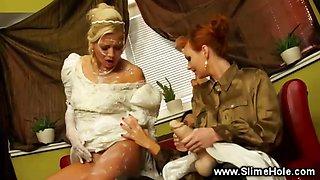 Bride gets loaded with bukake cum