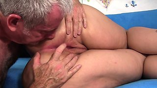Horny plumper puts her body for inspection before a mature
