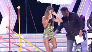 Celebrity upskirt shots with hot dancing Italian singer
