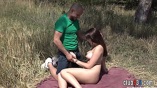 Outdoor sex with busty teen