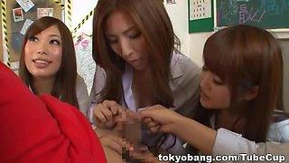 Stunning Asian schoolgirls arrange gangbang in the classroom