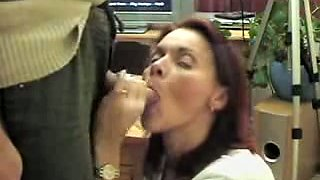 milf nice blowjob. Jizz on face