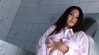 Big titty Japanese girl teases you in the shower