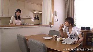Wicked brothers fingering their elder MILF sister at the kitchen to real orgasm