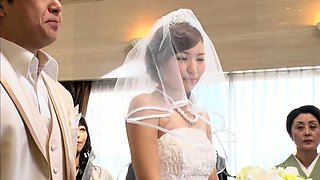 Slutty Japanese bride in lingerie indulges in wild group sex