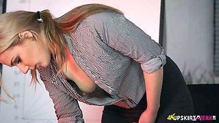 Amazing auburn secretary Aston Wilde exposes her mouth-watering boobs