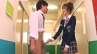 Subtitle CFNM Japanese schoolgirl hallway handjob tease