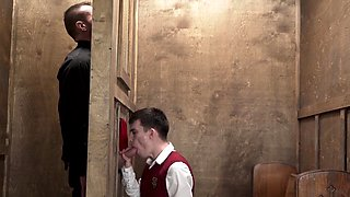 Twink ass rimmed by old priest and bareback fucked hard