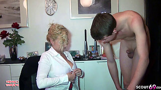 German Female Big Natural Tits Boss Seduce Young Boy to Fuck
