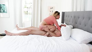 Oiled Latina hottie fucked by a massive penis in the bedroom