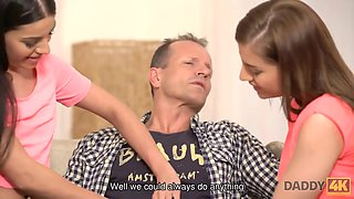 DADDY4K. Taboo fuck of old daddy and two sluts ends with nice cumshot