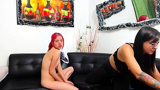 Two exciting young couples enjoy group sex on the webcam
