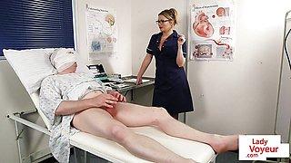Bossy voyeur nurse instructs patient to wank his cock
