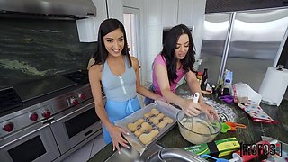 Two good girls Whitney Wright and Emily Willis gets nasty in the kitchen