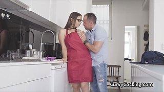 Kitchen quickie with curvy big tit girlfriend
