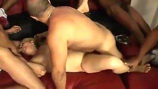 Blonde Brazilian Mature 65yr Gangbang